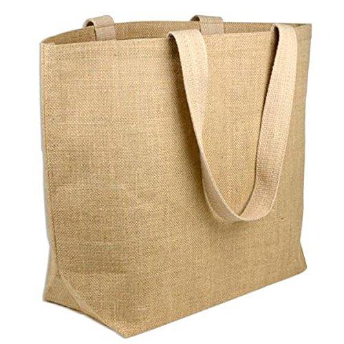 BagzDepot (6 PACK) Heavy Duty Jute Burlap Beach Tote Bags Laminated Interior and Bottom Gusset | Reusable Burlap Bags in Bulk, Arts and Craft Vinyl Heat Embroidery Large Imprint Burlap Bags Wholesale]()