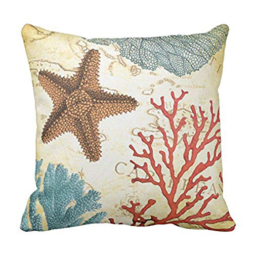 Emvency Throw Pillow Cover Map Fish Colorful Caribbean Starfish and Coral Ocean Decorative Pillow Case Home Decor Square 20 x 20 Inch Pillowcase