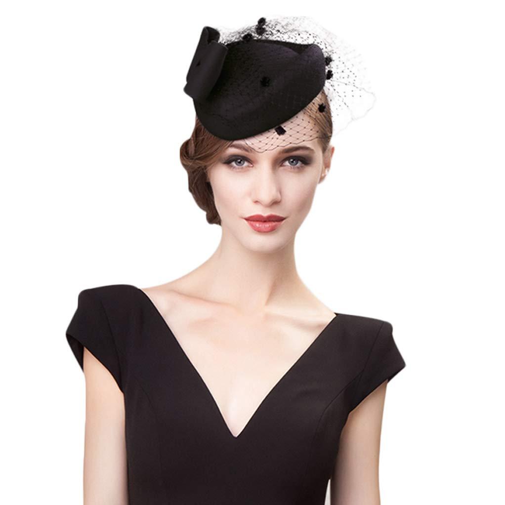 Giles Jones Wool Womens Pillbox Hats with Veils Bowknot Wedding Fedora Derby Cocktail Hats Black