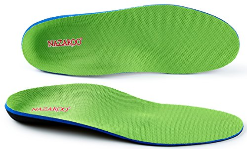 Orthotic Shoe Insoles for Flat Feet by NAZAROO, Arch Support Shoe Insert for Foot Pain, Heel Pain and Pronation Relief for Men and Women (US Mens 12-12.5 | Womens 14-14.5)