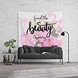 Society6 Wall Tapestry, Size Large: 88'' x 104'', Find The Beauty in Every Day, Handlettering Quote by acuarela