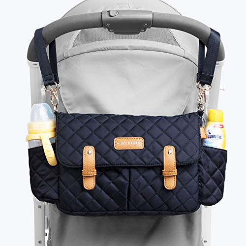 Stroller Organizer with Cup Holders Stroller Caddy Multi-Pockets Waterproof Diaper Bag with Shoulder Straps for Most Baby Strollers, Wheelchairs or Travel Purpose (Black)