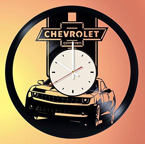 (Automobile Car Chevrolet Camaro vinyl record wall clock gift idea for birthday, christmas, women, men, friends, girlfriend boyfriend and teens - living kids room nursery (White/White))