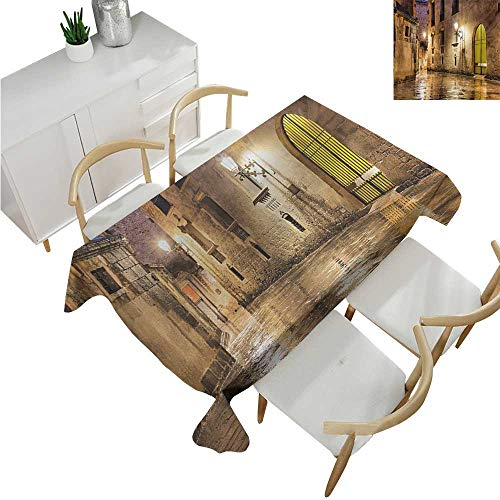 (familytaste Gothic,Wedding tablecloths,Gothic Ancient Stone Quarter of Barcelona Spain Renaissance Heritage Night Street Photo,Dinner Picnic Table Cloth 50
