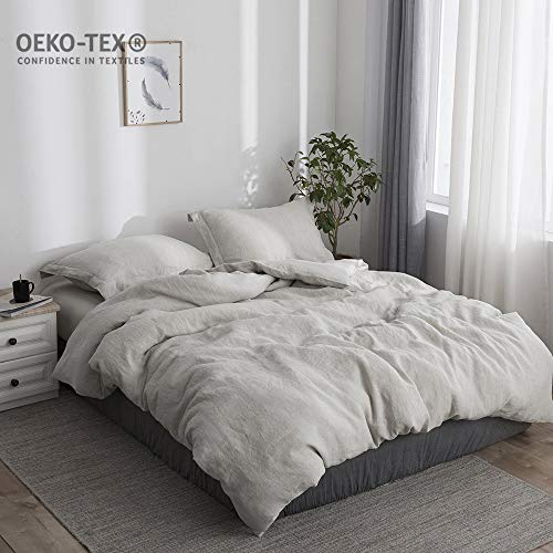 Simple&Opulence 100% Stone Washed Linen Solid Color Basic Style King Queen Twin Full Duvet Cover Sets (Linen, King) Duvet Cover Set Stone