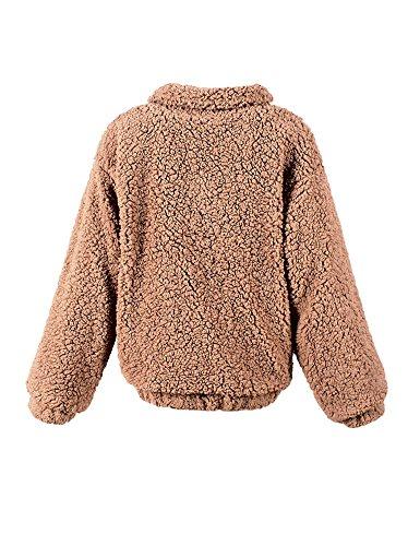 Fur Lovely Invierno Faux Idopy café Otoño con de Mujeres Coat capucha prendas abrigo tqwHHxpA