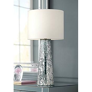 Marcus Modern Table Lamp Mercury Glass Column Shape White