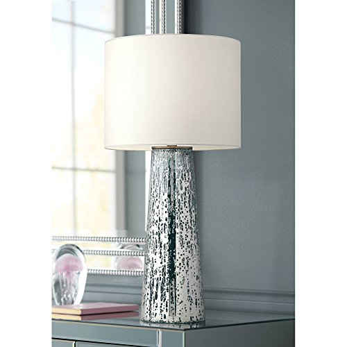 Marcus Modern Table Lamp Mercury Glass Column Shape White Drum Shade for Living Room Family Bedroom Bedside Nightstand - 360 Lighting