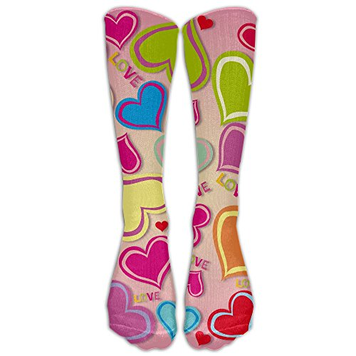 Color Graphics Hearts Unisex Tube Socks 100% Brand New Elastic Comfortable Knee High Socks Knee Length - Brands Sunglasses Affordable Good