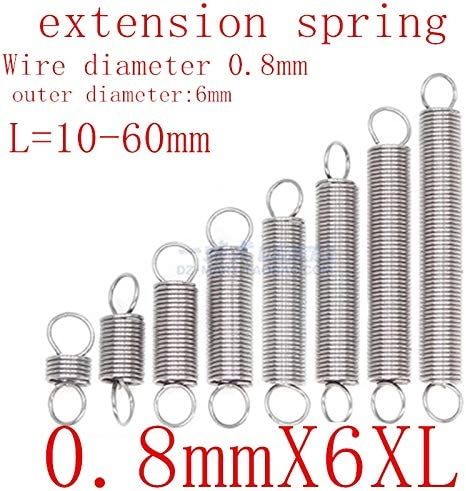 Jienie 2pcs 2mm wire diameter 20mm outside diameter steel extension spring tension pull springs 55mm-145mm length Length: 2x20x105mm