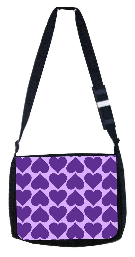 Purple hearts Rosie Parker Inc TM Medium Sized Messenger Bag 11.75 x 15.5 and 4.5 x 8.5 Pencil Case SET