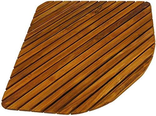 PrimeMatik - Duschmatte aus zertifiziertes Teakholz 76 x 76 cm Quadrat Badvorleger Badematte Duschvorleger