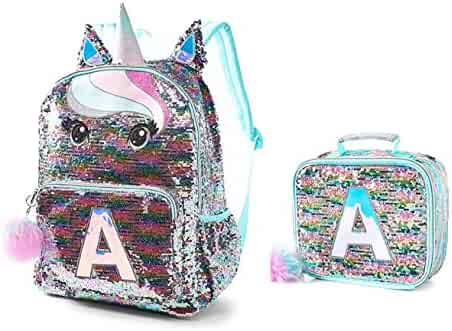 cf49216cc9c4 Justice Silver Pastel Unicorn Horn Flip Sequin Full Size Backpack Initial S