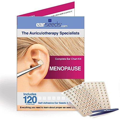 Menopause Ear Seed Kit- 120 Vaccaria Ear Seeds, Stainless Steel Tweezer