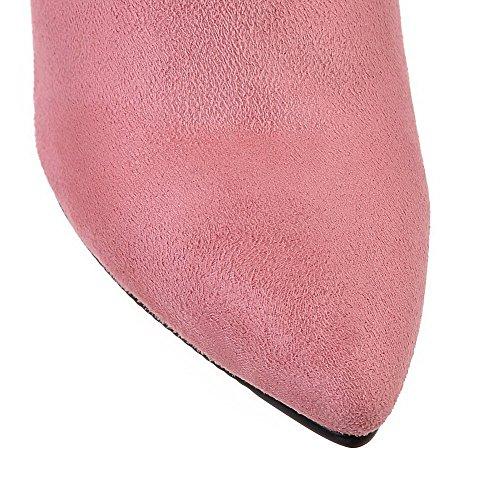 AllhqFashion Mujeres Gamuza(Imitado) Tobillo Sólido Cremallera Tacón Alto Botas Rosa