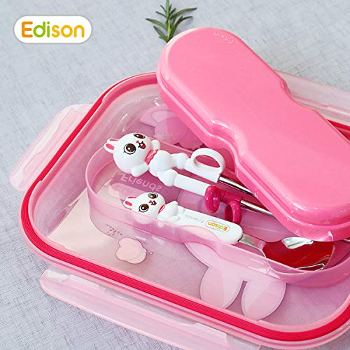 Edison Smart Stainless Divided Platter with Spoon and Fork Case Lid, Stainless Steel Divided Bento Lunch Box Plate for Babies, Toddlers and Kids, BPA free plate (Pink-Rabbit)