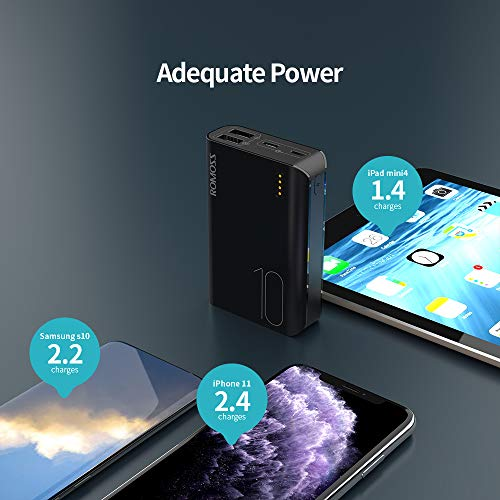 ROMOSS Power Bank 10000mAh, Mini Portable Charger Compatible for iPhone 11/11 Pro, iPhone 8/7/6s, iPad, Samsung S10/S9/S8, GoPro and More(Black)