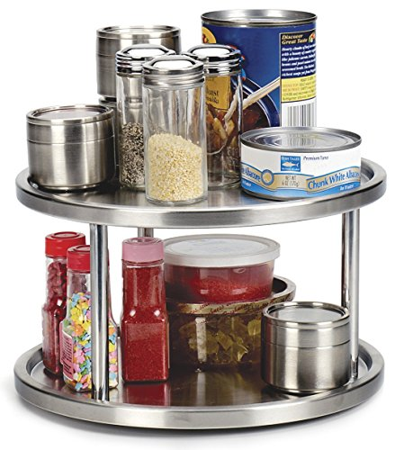 6 H x 10 1//2 Diameter Two Tier Lazy Susan Turntable for Cabinet-Steel Stainless