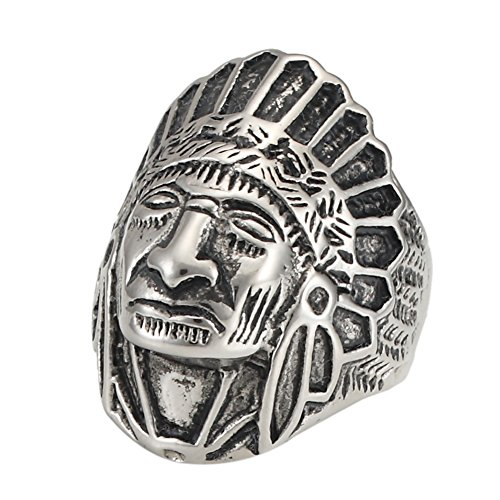 American Rings Ladies Indian (Stainless Steel Skull Rings American Indian Tribe Chiefs Head Punk Rock Men Ring Jewelry (10))