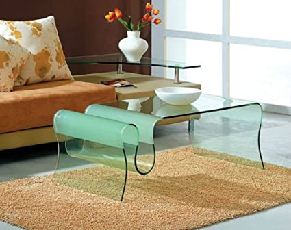 Ju0026M 062 Wavy Glass Coffee Table W/ Frosted Glass Accents