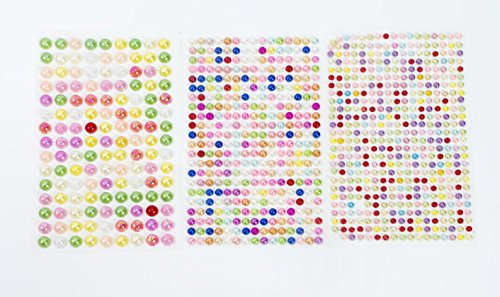 ALL in ONE Mixed Size Pearl Sticker Sheets Self-Adhesive Flat Back Pearl for DIY Craft Scrapbooking Embellishments (Multi-Color 4+6+8mm) ()