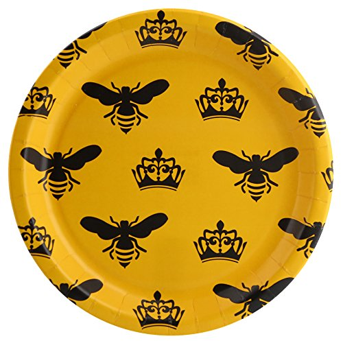 Black Yellow Queen Bee Bachelorette Party Supplies Dinner Plate Pack -