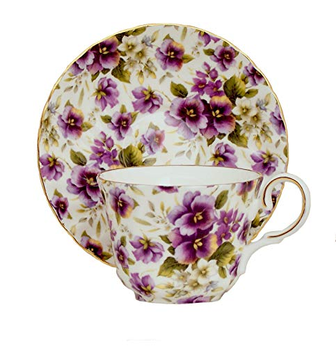 PURPLE PANSY CHINTZ TEA CUP AND SAUCER - Fine English Bone China