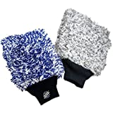 (2-Pack) THE RAG COMPANY Premium CYCLONE Korean Microfiber Wash Mitts [One Blue + One Grey] - TOTALLY SCRATCH-FREE, LINT-FREE