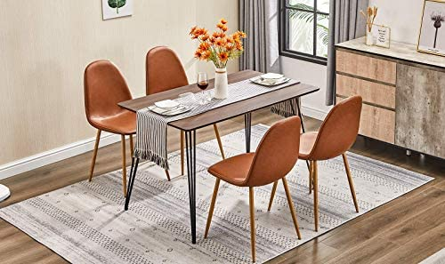"""GreenForest Dining Table, Kitchen Table for 4 People, 47.2""""Industrial Style Rectangle Desk with Heavy Duty Solid Hairpin Legs, Walnut"""