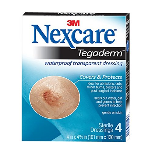 Nexcare Tegaderm Waterproof Transparent Dressing, Comfortable, Stretchy, Wear Up to 7 Days, 4-Inches X 4-3/4-Inches, 4 (Incision Care)