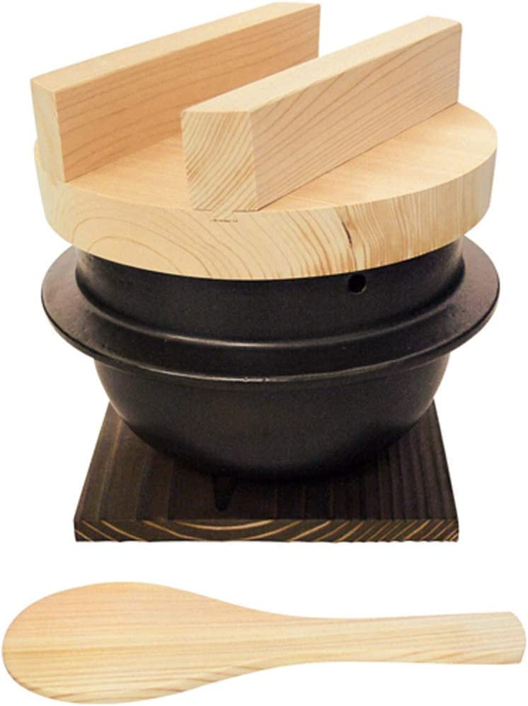 Japanese Rice Cooker Donabe, 3 Go, Set with Hinoki Rice Scoop