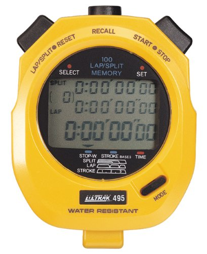 Professional Stopwatch - Ultrak 100 Lap Memory Timer, Yellow