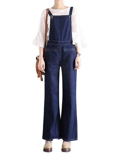 Idopy Pantalone con Bretelle da Donna in Denim con Gamba Larga  Amazon.it   Abbigliamento be558311ff6c