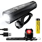 Victagen USB Rechargeable Bike Safety LED Light Set, Free Taillight, 1000 Lumens of Power, IP65 Waterproof, Bicycle Headlight; Easy to Install Light on Front and Rear