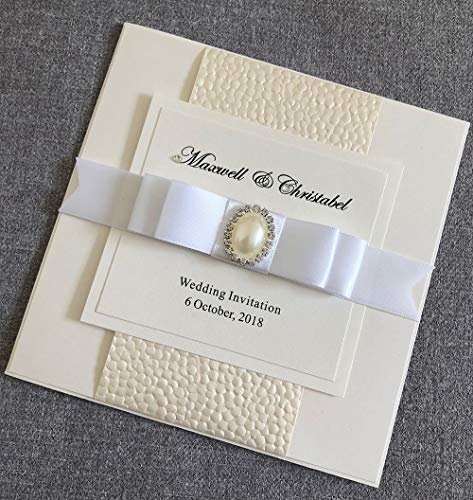CA0651 Custom Handmade Wedding Invitations with Satin Ribbon Bow and Pearl Buckle Rhinestone,Pack of 100