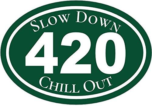 Marijuana Decal - Slow Down Chill Out Cannabis Vinyl Sticker - Marijuana Bumper Sticker - 420 Decal - Pro Pot Gift - Made in the (Grower Sticker)