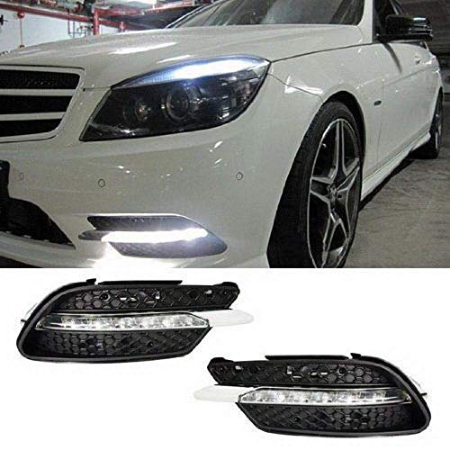 iJDMTOY Xenon White LED Daytime Running Lights Compatible With 08-10 Mercedes Benz W204 C-Class C300 C350 w/ Sports Package Bumper, OEM Style DRL Assy Each Powered by 7 Pieces High Power LED Lights