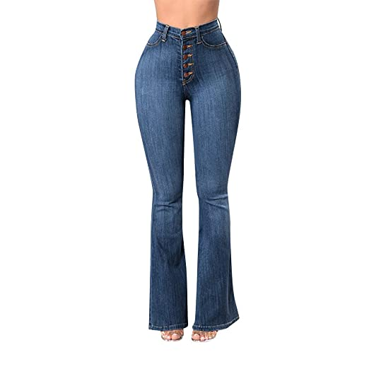 aba87fbf WUAI Jeans for Women, Classic High Waist Flare Jeans Denim Bell Bottoms  Jeans Plus Size