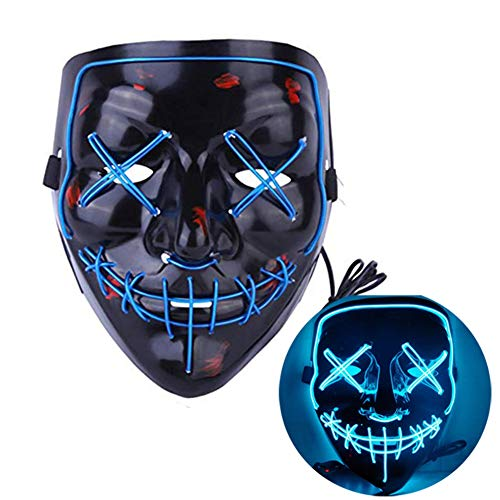 (NIGHT-GRING Frightening EL Wire Halloween Cosplay Led Mask Light up Mask for Festival)