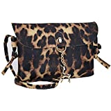 Chic Vegan Leather Small Crossbody Bag or Wristlet Leopard Clutch Purse, Includes Adjustable Shoulder and Wrist Straps (Brown)