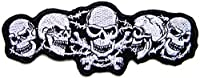 Five Skull Logo Biker Lady Biker Rider Tatoo Jacket T-Shirt Patch Sew Iron on Embroidered Sign Badge Costume