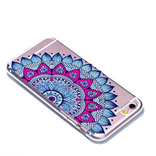 """Crisant Blaue halbe Blume Drucken Design weich Silikon Ultra dünn TPU Transparent schutzhülle Hülle für Apple iPhone 6 Plus / 6S Plus 5.5"""" (5,5''),Premium Handy Tasche Schutz Case Cover Crystal Bumper"""