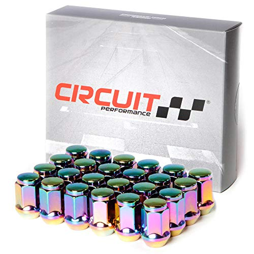 Circuit Performance 12x1.25 Neo-Chrome Closed End Bulge Acorn Lug Nuts Cone Seat Forged Steel (24 pieces)