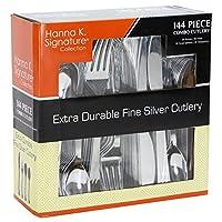 Cubiertos de plástico Cubiertos Cubiertos desechables de peso pesado, cubiertos de plástico como el paquete combinado de plata 144 piezas - 36 de cada tenedor, cuchillo, cucharita, cuchara de sopa