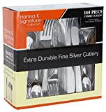 Plastic Cutlery Silverware Heavyweight Disposable Flatware, Plastic Cutlery Like Silver Combo Pack 144 pieces - 36 of each Fork, Knife, Teaspoon, Soup spoon