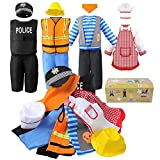 Sinuo Boy's Dress Up Costumes Set, Role Play Set 12-pcs Dress Up Trunk Pirate, Chef, Construction Worker, Policeman Costume Fit Boys Age from 3-6