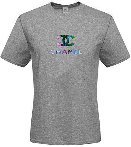 DIY Men's Tshirts,Custom chanel T-shirts,(Grey Small)