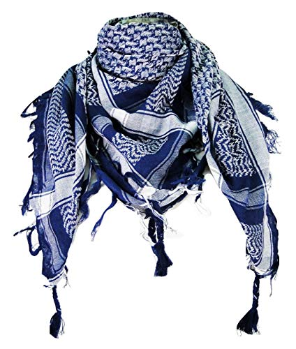 Premium Shemagh Head Neck Scarf - Blue/White