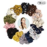 14 Assorted Colors Women's Chiffon Flower Hair Scrunchies Hair Chiffon Ponytail Holder, Including 8 Colors Chiffon Flower Hair Scrunchies and 6 Solid Colors Chiffon Hair Scrunchies (14 PCS Hair Ties)