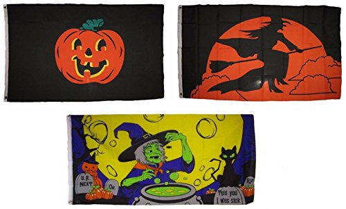 ALBATROS 3 ft x 5 ft Happy Halloween 3 Pack Flag Set #203 Combo Banner Grommets for Home and Parades, Official Party, All Weather Indoors Outdoors]()